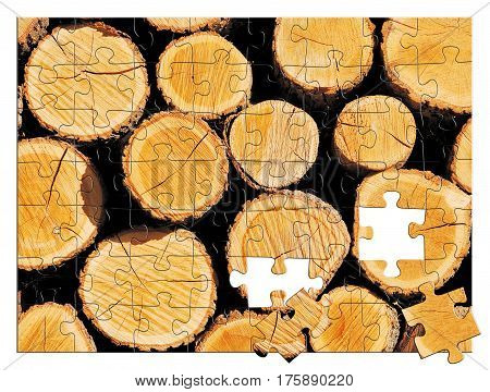 Pile of wooden logs texture. Puzzle picture.