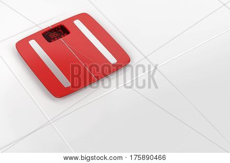 Smart weight scale on white tiles, 3D illustration