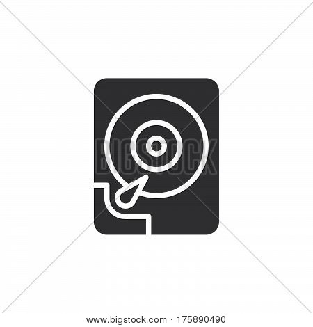 Hard disk drive icon vector filled flat sign solid pictogram isolated on white. HDD symbol logo illustration. Pixel perfect