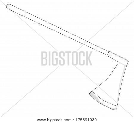 A medievil style executioners axe in outline over a white background
