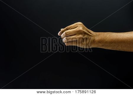 Hand Pinch Finger For Giving Concept Dark Style