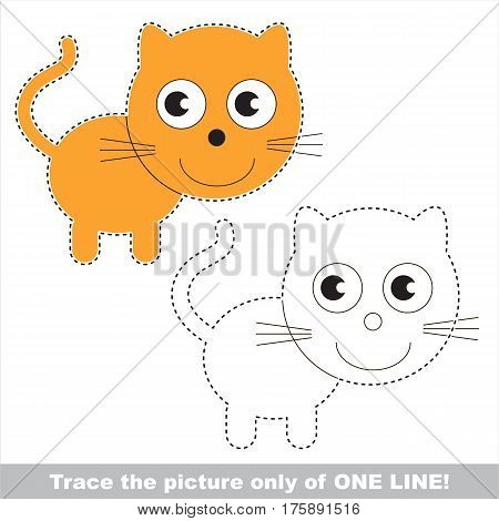 Kitten to be traced only of one line, the tracing educational game to preschool kids with easy game level, the colorful and colorless version.
