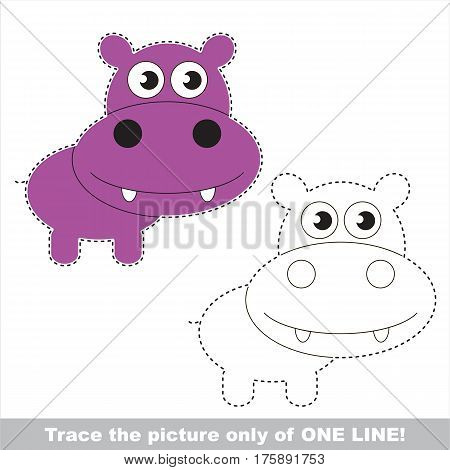 Hippo to be traced only of one line, the tracing educational game to preschool kids with easy game level, the colorful and colorless version.