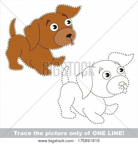 Puppy to be traced only of one line, the tracing educational game to preschool kids with easy game level, the colorful and colorless version.