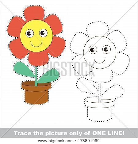 Red pot funny flower to be traced only of one line, the tracing educational game to preschool kids with easy game level, the colorful and colorless version.