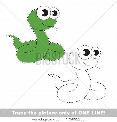 Snake to be traced only of one line, the tracing educational game to preschool kids with easy game level, the colorful and colorless version.
