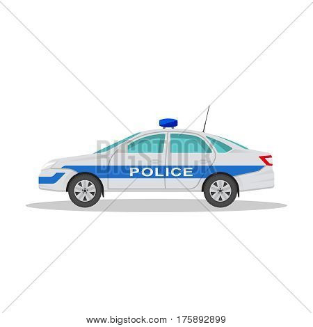 Icon of the police car with a shadow on the isolated white background. The vehicle in flat style. Design element. Vector illustration.