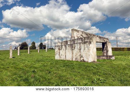 Europalia monument of marble at Nadrin near La Roche-en-Ardenne in Belgian Ardennes symbolizing the European openness