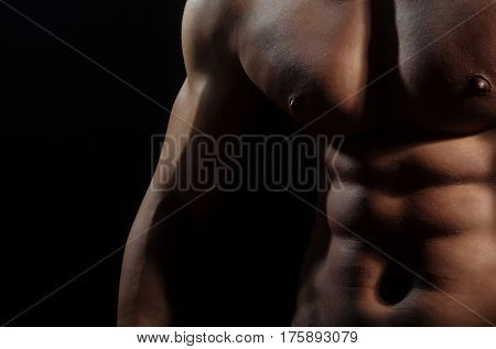 Male Torso Of Muscular Macho Man With Sexy Athlete Body