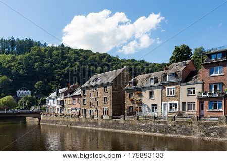LA ROCHE-EN-ARDENNES BELGIUM - AUGUST 14 2016: River Ourthe in the historic centre of La Roche-en-Ardenne in Belgian Ardennes
