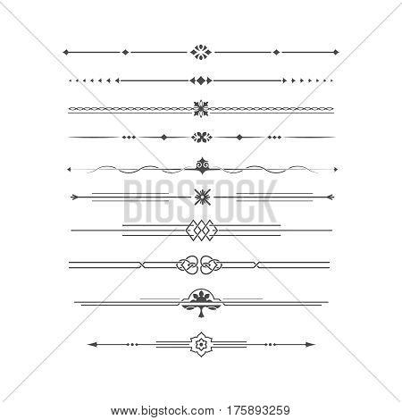Set of calligraphical elements of design and execution of the page. Allocation of the text in vintage style. Typographical dividers jewelry for books. Dividing lines.