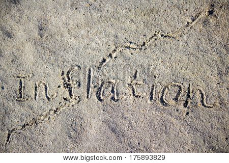 A Growing Inflation Graph Is An Inscription On The Sand. Texture Of Sand