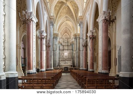 Interior Of The Erice Cathedral, Province Of Trapani. Sicily, Italy