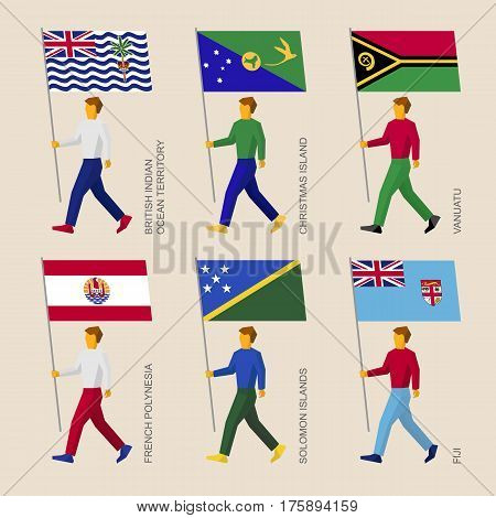 Set Of Simple Flat People With Flags Of Countries In Oceania