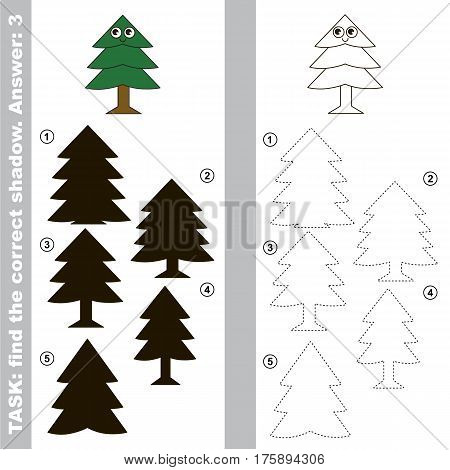 Evergreen Tree with different shadows to find the correct one, compare and connect object with it true shadow, the educational kid game with simple gaming level.