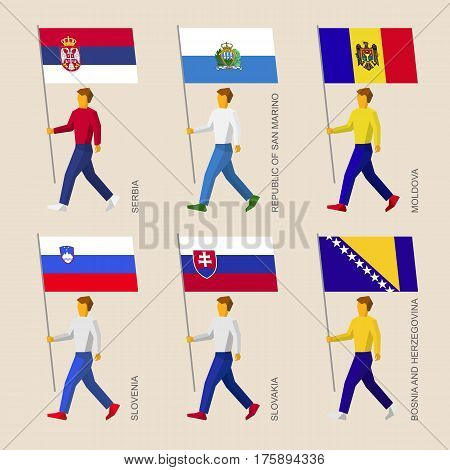 Set Of People With Flags Of Countries In Central Europe