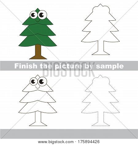 Drawing worksheet for preschool kids with easy gaming level of difficulty, simple educational game for kids to finish the picture by sample and draw the Evergreen Tree