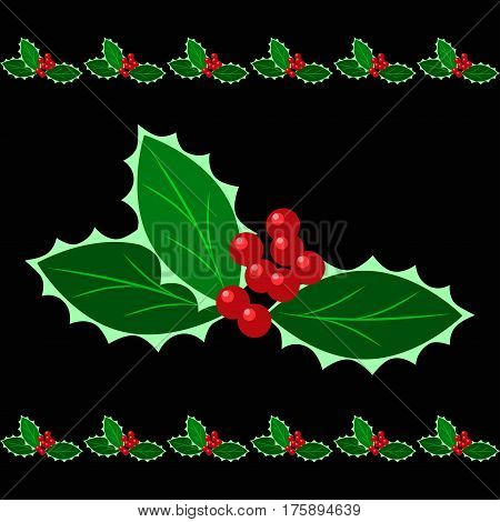 Brush stroke with ilex aquifolium green leaves and red berries. Christmas winter pattern decor for an infinite border or frame. Xmas vector illustration