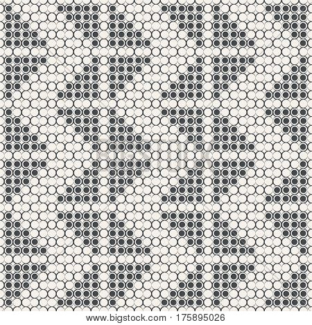 Seamless pattern. Modern abstract geometric background. Regularly repeating grid from circles with outline of variable thickness dotted triangles zigzag forms. Stylish texture.