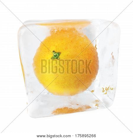 Orange frozen in ice cube. Ice cube in front view, single ice cube isolated on white background, 3d rendering