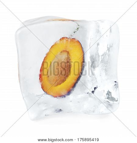 Slice Plum with bone frozen in ice cube, ice cube in front, single ice cube isolated on white background, 3d rendering