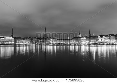 Binnenalster In Black And White