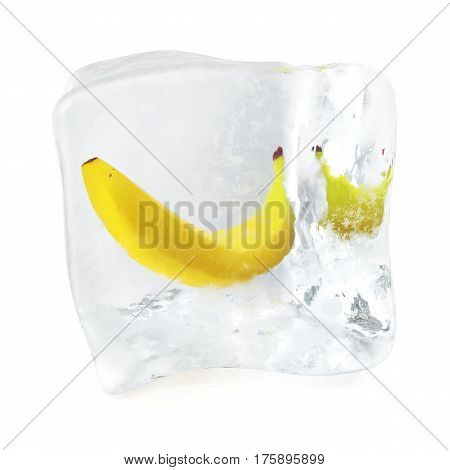 Banana frozen in ice cube, ice cube in front view, single ice cube isolated on white background, 3d rendering