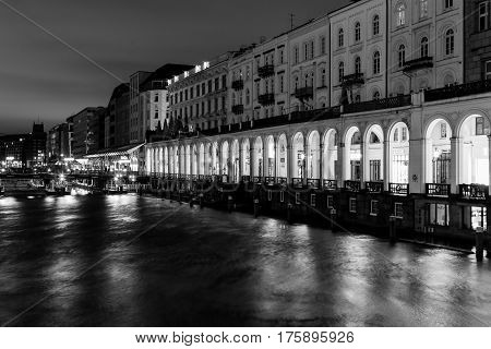 The Alster Arcades In Monochrome