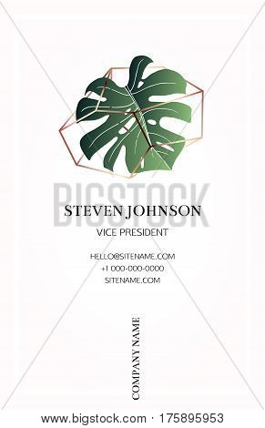Pink business card with a logo - bronze crystal and leaf monstera. Bronze polygonal shape. Corporate identity template in trendy colors for modern cute romantic design. Art deco style.Vector.