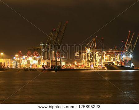 Hamburg Sea Port At Night
