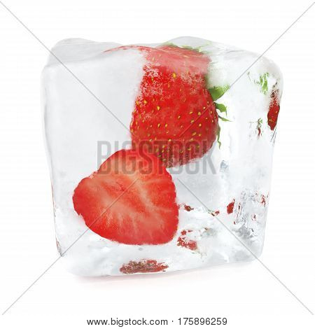 Two Strawberries frozen in ice cube, ice cube in front view, single ice cube isolated on white background, 3d rendering