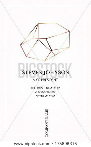 Pink business card with a bronze crystal logo. Gold polygonal shape. Corporate identity template in trendy colors with a bronze stone for modern cute romantic design. Art deco style.Vector. EPS 10