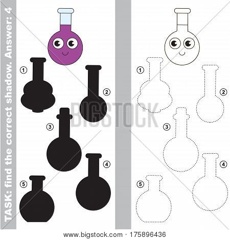 Vial with different shadows to find the correct one, compare and connect object with it true shadow, the educational kid game with simple gaming level.