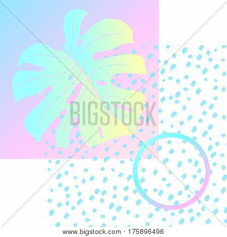 Abstract creative background. Geometric shapes and monstera leaf. In the style of Vaporwave and Memphis. Neon bright colors. Vector. Yellow, pink and blue.