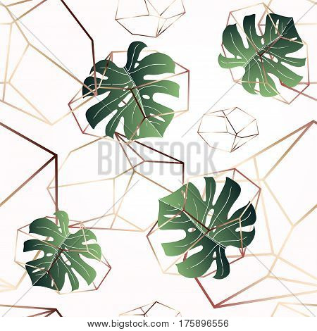 Seamless pattern on pink blush background. Fashionable color of powder. Bronze outline. Trendy green monstera leaves. Vector. Funky texture for wallpaper, wrapper, site or cover.