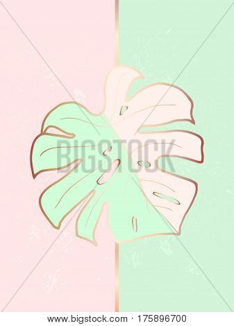 Design creative abstract poster in the interior. The decoration of the house. Trendy monstera leaf with a bronze outline on pink and green background. Vector. Suitable for covers, cards, brochures.