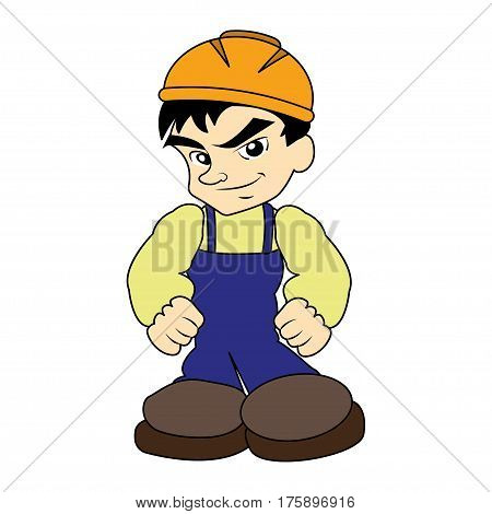 Sympathetic bricklayer dressed in work clothes, he wears a helmet