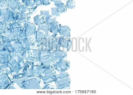 Ice cubes background, pile of blue ice cubes, 3d rendering