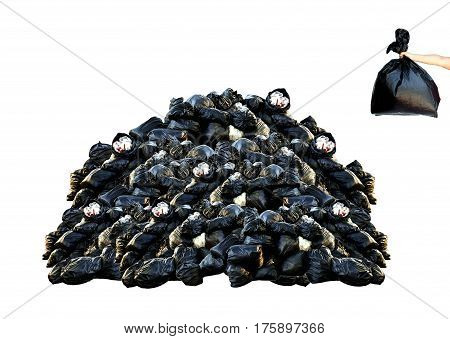 Human hand holding garbage bag with many garbage isolated on white background