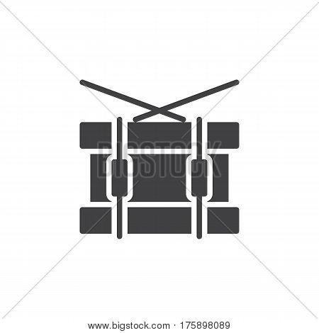 Snare drum icon vector filled flat sign solid pictogram isolated on white. Symbol logo illustration. Pixel perfect