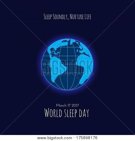 Earth on dark blue background. World Sleep Day vector illustration.