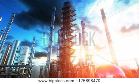 Refinery. Oil, petrolium plant Metal Pipe 3d rendering