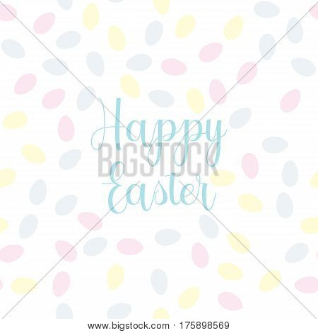 Pattern with easter eggs and Happy Easter text
