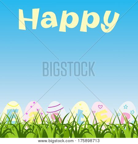 Happy Easter greeting card with eggs and grass