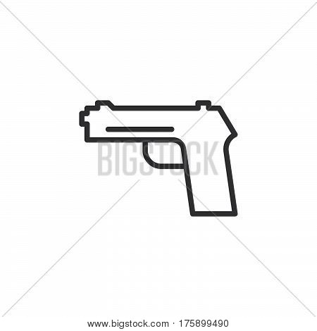 Gun pistol handgun line icon outline vector sign linear style pictogram isolated on white. Firearm symbol logo illustration. Editable stroke. Pixel perfect