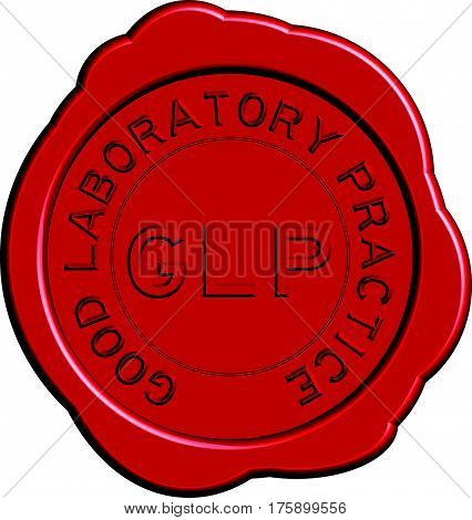 Red GLP (Good Laboratory Practice) wax seal on white background