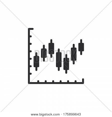 Candlestick chart icon vector filled flat sign solid pictogram isolated on white. Symbol logo illustration. Pixel perfect