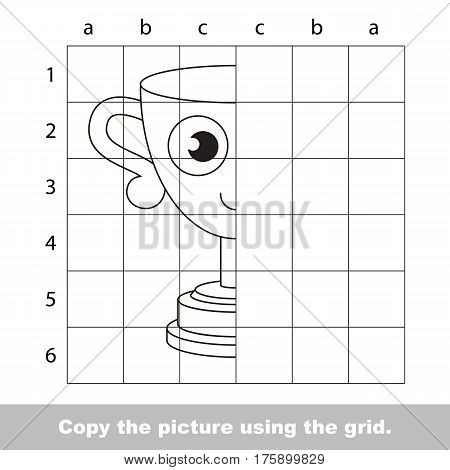 Finish the simmetry picture using grid sells, vector kid educational game for preschool kids, the drawing tutorial with easy game level for half of Trophy Cup.