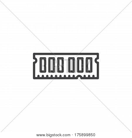 RAM random access memory line icon outline vector sign linear style pictogram isolated on white. Symbol logo illustration. Editable stroke. Pixel perfect