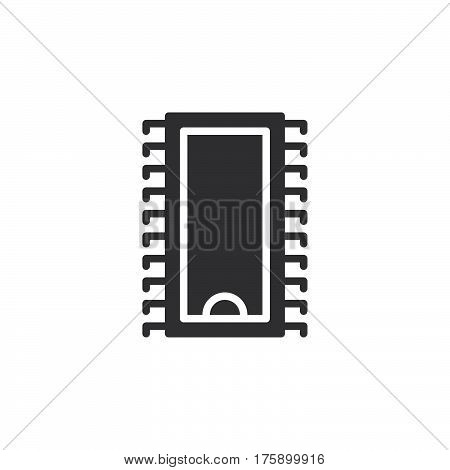 Integrated circuit microchip icon vector filled flat sign solid pictogram isolated on white. Symbol logo illustration. Pixel perfect